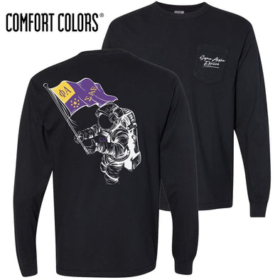 SAE Comfort Colors Black Astronaut Long Sleeve Pocket Tee