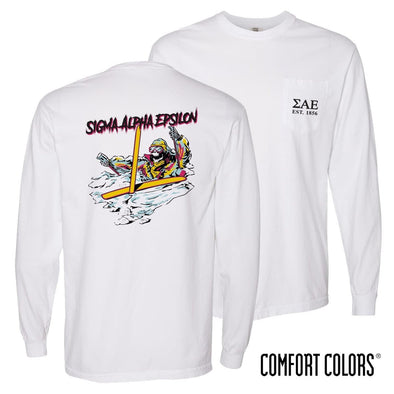 New! SAE Comfort Colors White Long Sleeve Ski-leton Tee