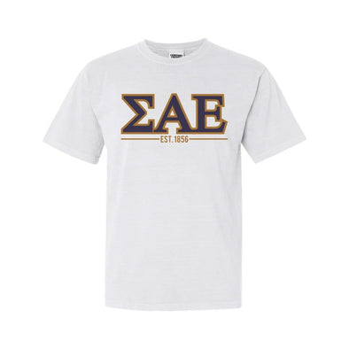 SAE White Comfort Colors Greek Letter Tee
