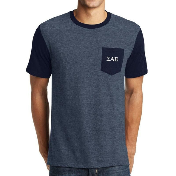 Clearance! SAE Heather Navy Contrast Pocket Tee
