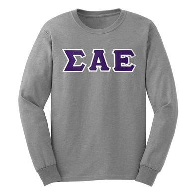 SAE Gray Sim Stitch Letter Long Sleeve Tee