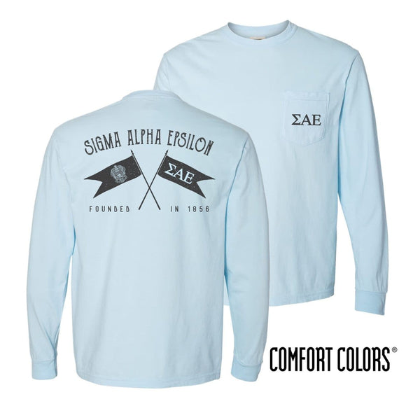 SAE Light Blue Comfort Colors Long Sleeve Pocket Tee