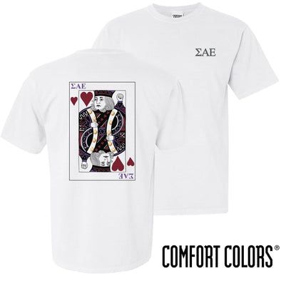 New! SAE Comfort Colors White King of Hearts Short Sleeve Tee