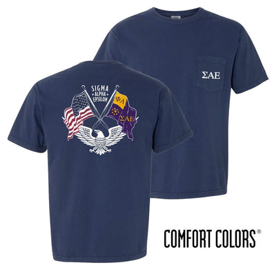 New! SAE Comfort Colors Short Sleeve Navy Patriot tee