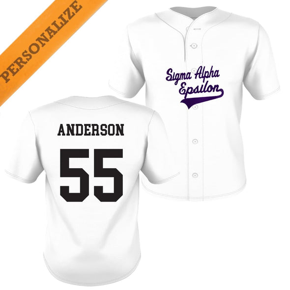 SAE Personalized White Mesh Baseball Jersey