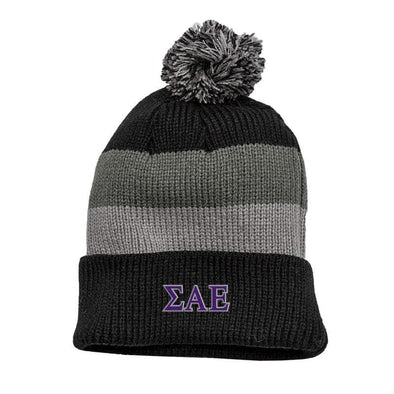 SAE Black & Gray Striped Knit Beanie with Removable Pom