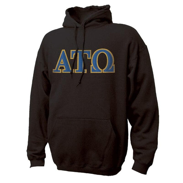 ATO Black Hoodie with Sewn On Greek Letters