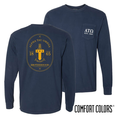 ATO Comfort Colors Navy Badge Long Sleeve Pocket Tee
