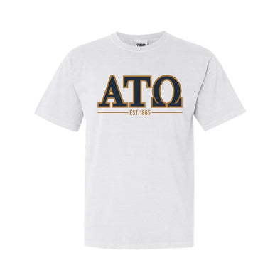 ATO White Comfort Colors Greek Letter Tee