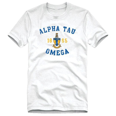 ATO White Distressed Crest Tee