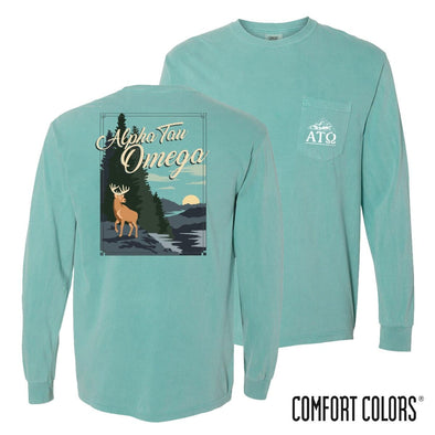 New! Alpha Tau Omega Comfort Colors Deer Tee