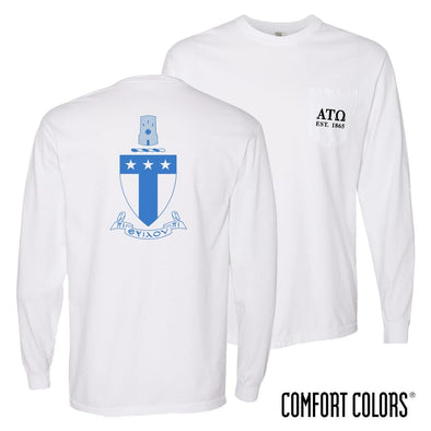 New! ATO Comfort Colors White Pocket Crest Long Sleeve Tee
