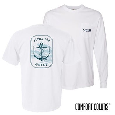 New! ATO Comfort Colors White Anchor Pocket Tee