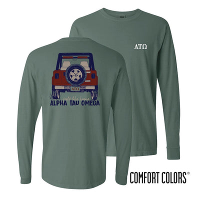 Alpha Tau Omega Comfort Colors Jeep Long Sleeve Tee