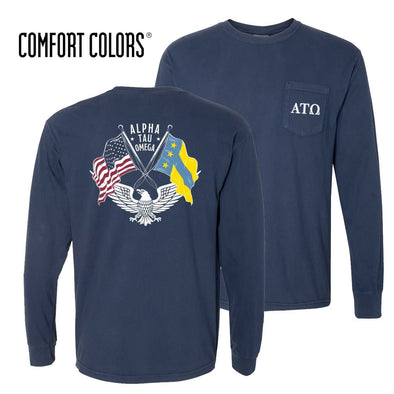 New! ATO Comfort Colors Long Sleeve Navy Patriot tee