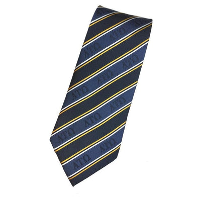 Sale! ATO Blue and Gold Striped Silk Tie