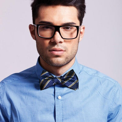Sale! ATO Blue and Gold Striped Silk Bow Tie