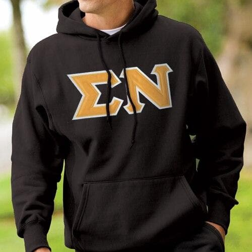 Sigma Nu Black Hoodie with Sewn On Gold Letters