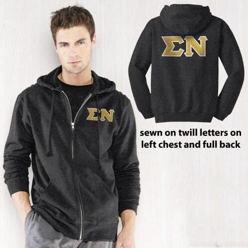 Clearance! Sigma Nu Dark Heather Full-Zip Hoodie with Sewn On Letters