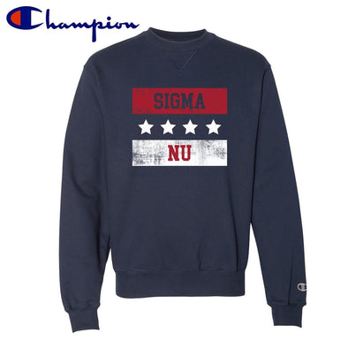 New! Sigma Nu Red White and Navy Champion Crewneck