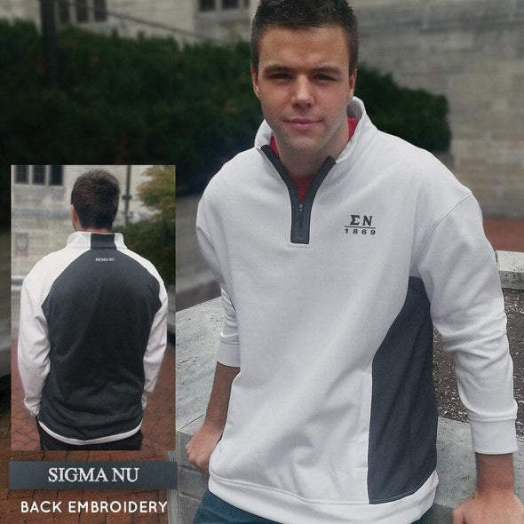 Clearance! Sigma Nu White & Charcoal Performance 1/4 Zip Sweatshirt