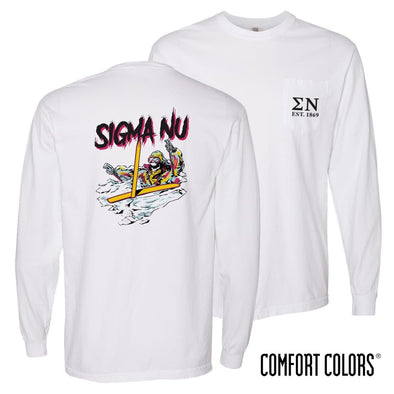 New! Sigma Nu Comfort Colors White Long Sleeve Ski-leton Tee