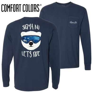 New! Sigma Nu Comfort Colors Navy Let's Ride Long Sleeve Pocket Tee