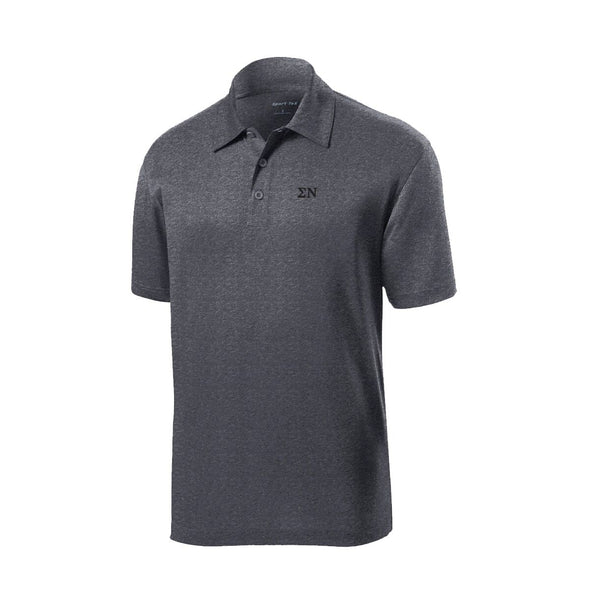 Sigma Nu Dark Heather Performance Polo