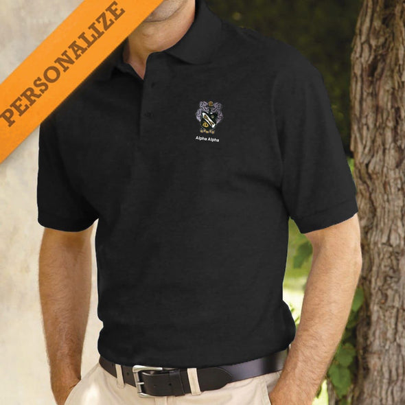 Sigma Nu Personalized Black Coat of Arms Polo