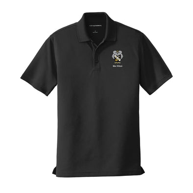 New! Personalized Sigma Nu Crest Black Performance Polo