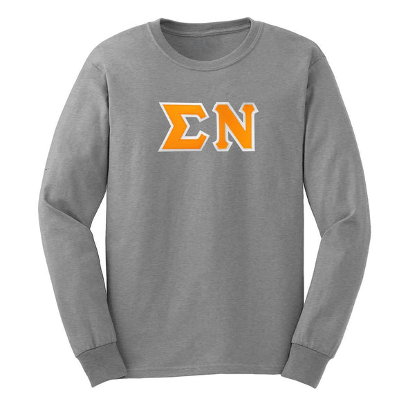 Sigma Nu Gray Sim Stitch Letter Long Sleeve Tee