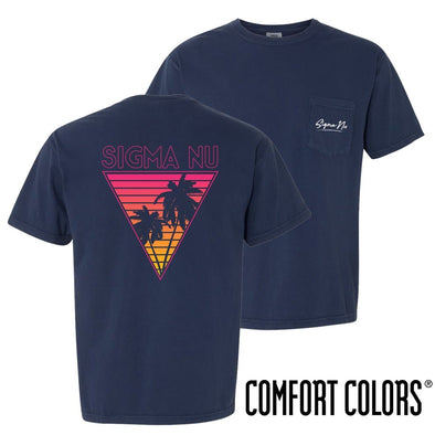 Sigma Nu Comfort Colors Navy Short Sleeve Miami Pocket Tee