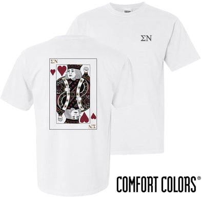 New! Sigma Nu Comfort Colors White King of Hearts Short Sleeve Tee