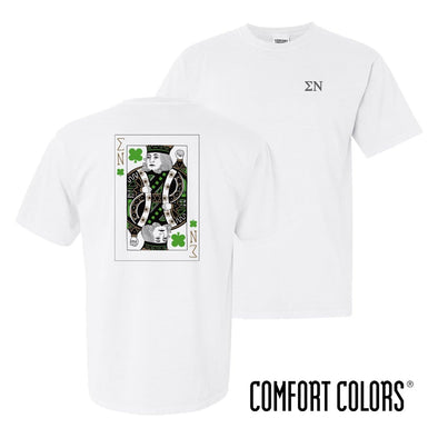New! Sigma Nu Comfort Colors White Short Sleeve Clover Tee