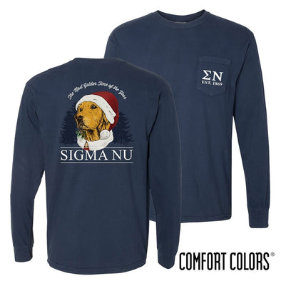 New! Sigma Nu Comfort Colors Navy Santa Retriever Long Sleeve Pocket Tee