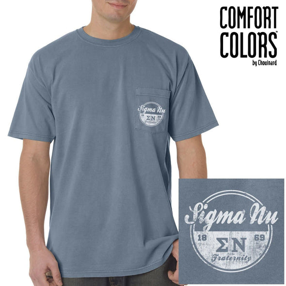 Sigma Nu Vintage Blue Comfort Colors Pocket Tee
