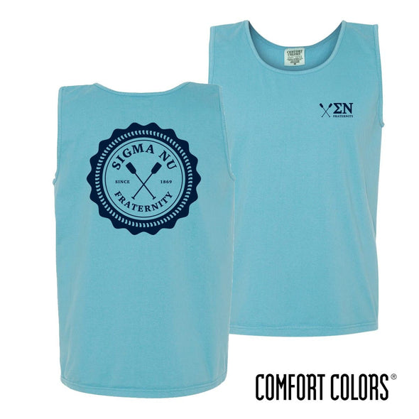 Sigma Nu Lagoon Blue Comfort Colors Pocket Tank