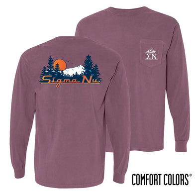 New! Sigma Nu Comfort Colors Berry Retro Wilderness Long Sleeve Pocket Tee