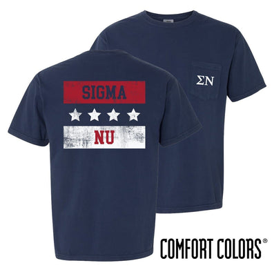 New! Sigma Nu Comfort Colors Red White and Navy Short Sleeve Tee
