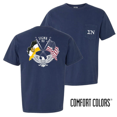 New! Sigma Nu Comfort Colors Short Sleeve Navy Patriot tee