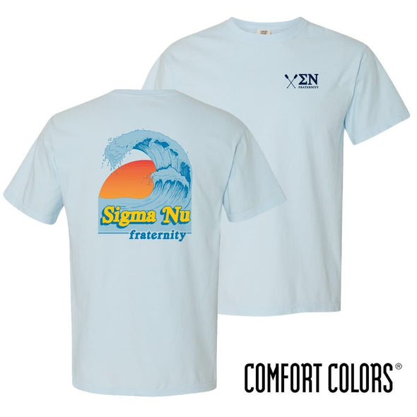 New! Sigma Nu Comfort Colors Chambray Short Sleeve Retro Ocean Tee