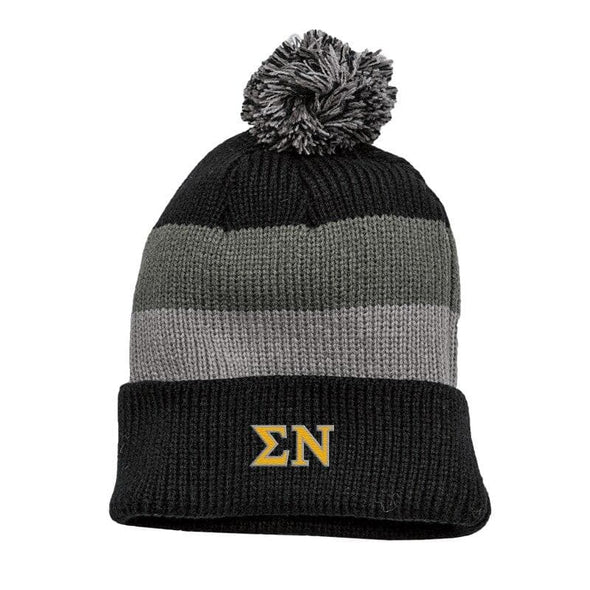 Sigma Nu Black & Gray Striped Knit Beanie with Removable Pom