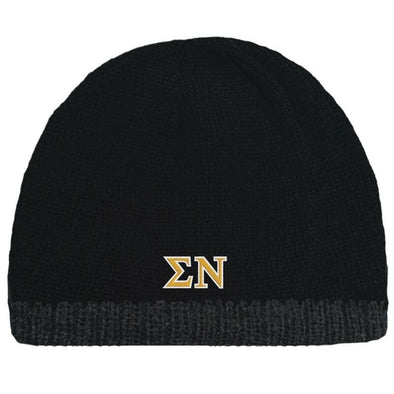Sale! Sigma Nu Black Knit Beanie with Fleece Lining