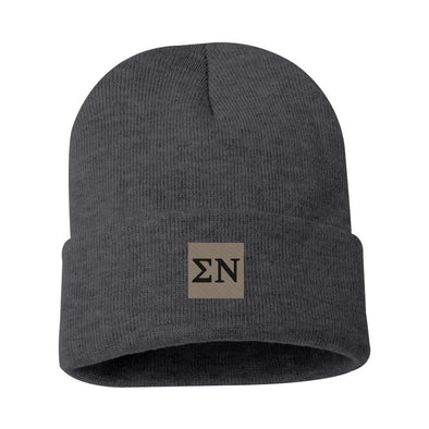 New! Sigma Nu Charcoal Letter Beanie