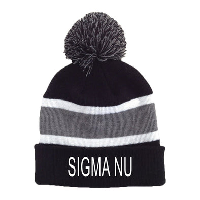 New! Sigma Nu Striped Pom Beanie