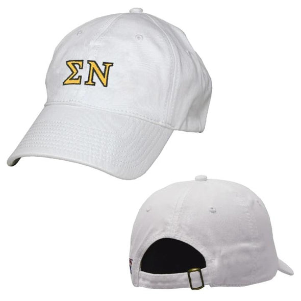 Sigma Nu White Greek Letter Adjustable Hat