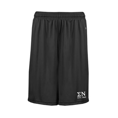 Sigma Nu Black Pocketed Performance Shorts