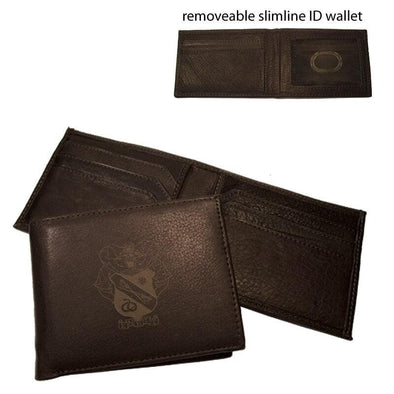 Sale! Sigma Nu Brown Leather Crest Bi-Fold Wallet