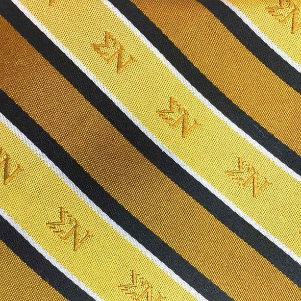 Sale! Sigma Nu Gold and Black Striped Silk Tie