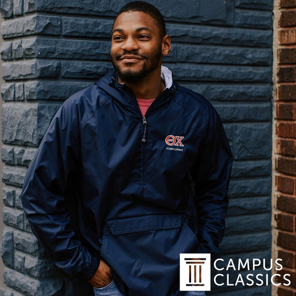 Chi Phi Personalized Charles River Navy Classic 1/4 Zip Rain Jacket